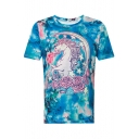 Cartoon Unicorn Floral Printed Round Neck Short Sleeve Tee