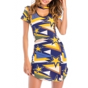 Color Block Pentagram Printed Round Neck Short Sleeve Hollow Out Asymmetric Hem Mini Bodycon Dress