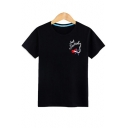 Letter Lip Printed Round Neck Short Sleeve Tee
