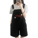 Letter Children Embroidered Loose Overall Romper