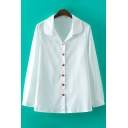 Chic Sweetheart Shaped Button Front Lapel Long Sleeve Casual Shirt