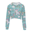 Cute Cartoon Unicorn Rainbow Printed Long Sleeve Crop Hoodie