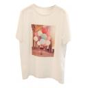Fashion Balloon Character Landscape Print Round Neck Short Sleeves Summer T-shirt