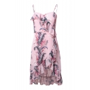 Beach Fashion Floral Leaf Print Ruffle Detail Asymmetrical Hem Cami Dress