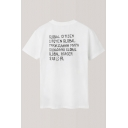 Fashionable Chinese Letter Printed Round Neck Short Sleeve Tee