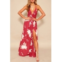 Floral Printed Spaghetti Straps Sleeveless Split Front Maxi Cami Dress