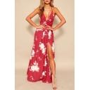 Floral Printed Spaghetti Straps Sleeveless Split Front Maxi Cami Dress