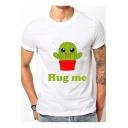 Lovely HUG ME Cartoon Cactus Letter Printed Round Neck Short Sleeve Tee