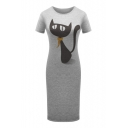 Cartoon Cat Printed Round Neck Short Sleeve Comfort Slim Midi T-Shirt Dress
