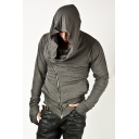 Basic Plain Classic Zip Up Long Sleeves Slim Fit Men's Hoodie