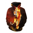 Top Sale Tiger in Fire Flame Print Long Sleeves Pullover Hoodie with Pocket