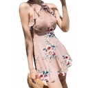 Floral Printed Sleeveless Lace Up Back One Piece Swimwear