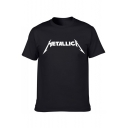 Simple METALLICA Letter Printed Round Neck Short Sleeve Tee