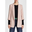 Office Lady Notched Lapel Collar 3/4 Length Sleeve Open Front Plain Blazer