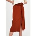 Chic Plain Buttons Down Elastic Waist Split Front Midi A-Line Skirt