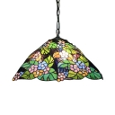 2 Light Pendant Light with Leaf Pattern Glass Shade, 16