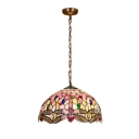 12/16-Inch Wide Three Light Hanging Lamp with Dragonfly Pattern Dome Shaped Glass Shade, Multi-Colored