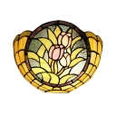 Splendid Bowl Shaped Floral 2-Light Wall Sconce Tiffany Style Hallway Lamp, 12