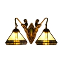 Doule Light Tiffany Style Mission Design Sconce with Mermaid Lampbase
