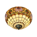 Two Light Tiffany-Style Flush Mount Lamp with 16-Inch Wide Bowl Shaped Shade, Stained Glass