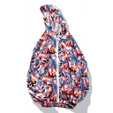 Graffiti Printed Long Sleeve Zip Up Hooded Coat