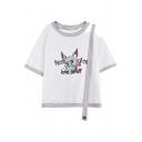 Cute Dog Floral Letter Print One Shoulder Short Sleeve Strap Detail Summer Tee