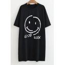 Popular Smiley Face Letter Print Round Neck Short Sleeves Tunic T-shirt