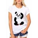 Lovely Cartoon Panda Printed Round Neck Short Sleeve Summer Tee