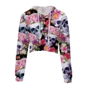 New Trendy Floral Skull Printed Long Sleeve Crop Hoodie