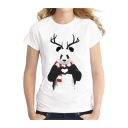 Cute Antler Panda with Scarf Print Round Neck Short Sleeves Casual Tee