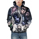 Popular Cartoon Print Long Sleeves Pullover Hoodie with Pocket