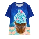 Galaxy Ice-Cream Printed Round Neck Short Sleeve Loose Tee