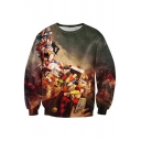 Retro Character Pill Capsule Print Round Neck Long Sleeves Pullover Sweatshirt