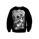 Cute Digital Cartoon Mouse Letter Printed Round Neck Long Sleeve Pullover Sweatshirt