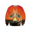 Color Block Cute Cartoon Monster Printed Round Neck Long Sleeve Pullover Sweatshirt