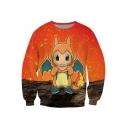 Color Block Cute Cartoon Monster Printed Round Neck Long Sleeve Pullover Sweatshirt
