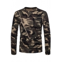 Camouflage Printed Round Neck Long Sleeve Zipper Embellished Tee with Pocket