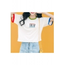 Contrast Trim Letter Embroidered Round Neck Short Sleeve Tee