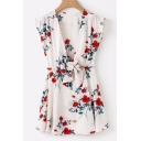 Summer Collection Floral Printed V Neck Sleeveless Tied Front Mini A-Line Dress