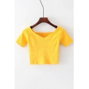 Slim V Neck Short Sleeve Plain Crop Summer Tee