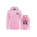 Simple W Letter Print Zip Up Long Sleeves Hoodie with Pockets
