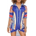 Top Design Color Block Vintage Pattern Lapel Button Front Tunic Shirt