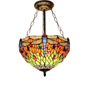 12/16-Inch Wide Tiffany Style Multi-Colored Dragonfly Inverted Hanging Light in Burnished Brass Finish