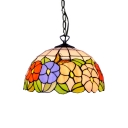 Various Garden Flowers Tiffany 12/16-Inch Dome Stained Glass Shade Ceiling Fixture in Multicolored for Living Room