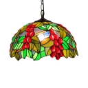 Vintage Pendant Light with Tiffany Style Fruit Glass Shade in Red & Green, Dome Shape, 12-Inch Wide