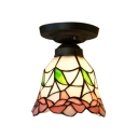 Pink Flower Bell Shaped Flush Mount Ceiling Light with Tiffany Stained Glass, 6