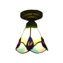Classic Art Semi-Flush Mount Ceiling Light with Peacock Tail Glass Shade in Tiffany Style 6.7