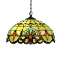 Tiffany-Style Baroque 2 Light Ceiling Fixture with Dome Glass Shade in Multicolred, 16