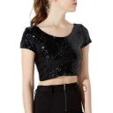 New Stylish Chic Sequined Round Neck Short Sleeve Crop Tee