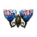 Vintage 16-Inch Wide Tiffany Upward Wall Sconce with Dragonfly Floral Style, 2-Light